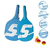 Speedminton Beach Paddle Set Speedminton Robustes Holz Beach Paddle 2 Spieler Set - Incl. 2 Bällen und 1 Original Fun Speeder, Cyan blau, One size, 400052