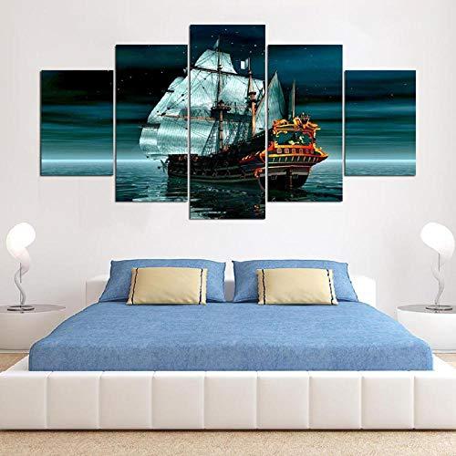 Ssckll Moderne Wand-Dekor Poster Hd Gedruckt 5 Panel Schiff Boot Leinwand Kunst Malerei Seascape Kunstwerk Wandbilder Für Wohnzimmer-Rahmenlos - Boot Leinwand Kunst