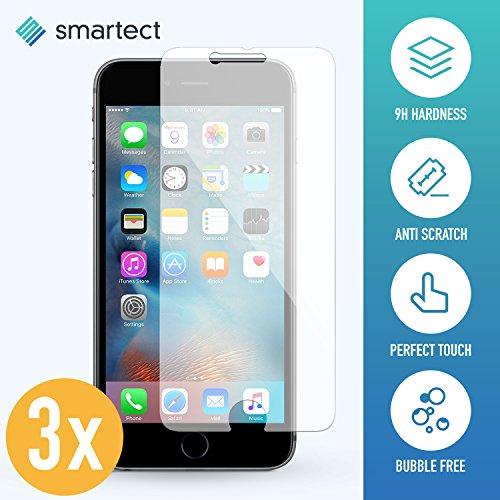 smartect iPhone 6 / 6s Panzerglas Folie [3 Stück] - Displayschutz mit 9H Härte - Blasenfreie Schutzfolie - Anti Fingerprint Panzerglasfolie