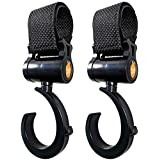 Baby Uma Rotating Buggy Clips. Hook Your Baby Items, Shopping & Bags Safely on Your Pushchair or Stroller. Clip Your Handbag or Baby Change Bag to Your Pram. Universal fit, Black, 2 Pack