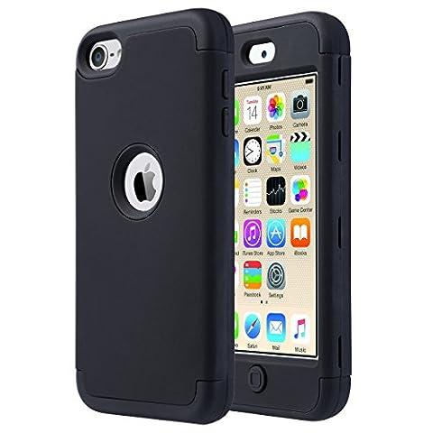 iPod Touch 5 Hülle, ULAK iPod Touch 6 Hülle 3 Layer Hybrid Combo Innere Weiche Silikon Hart Plastik Anti-stoß Schutzhülle Tasche Case Cover für Apple iPod Touch 5 6 Generation (F-Schwarz)
