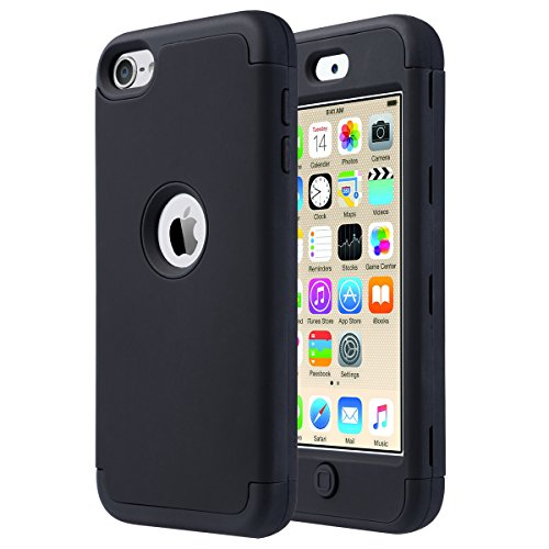 ULAK iPod Touch 6 Hülle 3 Layer Hybrid Combo Innere Weiche Silikon Hart Plastik Anti-stoß Schutzhülle Tasche Case Cover für Apple iPod Touch 5 6 Generation (F-Schwarz) (5. Generation Apple Ipod)