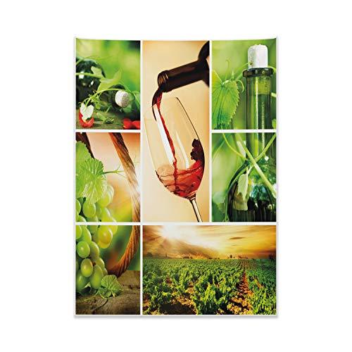 ABAKUHAUS Wein Wandteppich, Weinprobe Weinrebe aus Weiches Mikrofaser Stoff Kein Verblassen Klare Farben Waschbar, 110 x 150 cm, Karamell Grün Rubin