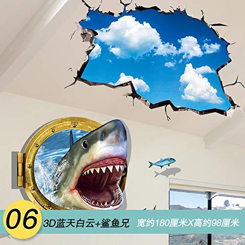 Kreative Persönlichkeit Schlafsaal Decke Dekoration Wandaufkleber 3D dreidimensionale Wandaufkleber Schlafzimmer selbstklebende Tapete Aufkleber, 06 3D Blue Sky und White Cloud Brother Shark, groß