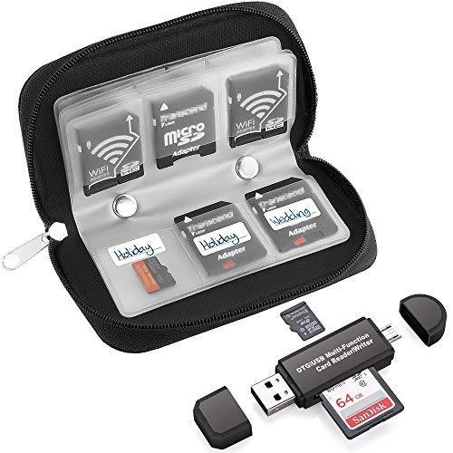 22Slots Memory Card Case mit SD-Kartenleser, OTG Reader für SDXC, SDHC, SD, TF Karte, RS-MMC, Micro SD, Micro SDHC Karte und UHS-I Karten für Windows, Mac, Linux -