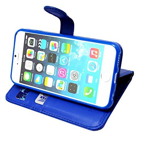 iPhone 7 Plus Hülle , Kamal Star® [ Plain Red Book ] Kunstleder Tasche PU Schutzhülle Tasche Leder Brieftasche Hülle Case Cover Für Apple iPhone 7 Plus 5.5 - 2016 + Gratis Universal Eingabestift (Plai Plain Blue Book