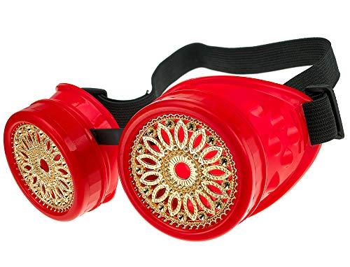 MFAZ Morefaz Ltd Schutzbrille Schweißen Sonnenbrille Welding Cyber Goggles Steampunk Goth Round Cosplay Brille Party Fancy Dress (Red Design)