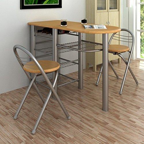 Anself - Juego de mesa y sillas de desayuno para bar/cocina,marrón claro