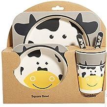 Xing Lin Cubertería Infantil Vajilla Infantil Bebé Fibra De Bambú Dividido Precioso Disco Tenedor Spoon Aislamiento Traje De Protección Ambiental,5 Pedazos De Vacas