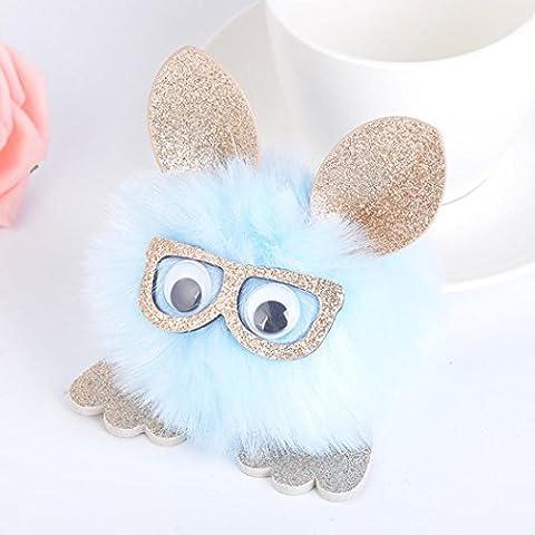 Artistic9(TM) Mode femmes filles Sac à main Porte-clés téléphone portable voiture Keychain Pendentif avec boule Fluffy, bleu, Rabbit Style
