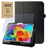 subtel® Tasche + Panzerglas kompatibel mit Samsung Galaxy Tab 4 10.1 (SM-T530 / SM-T531 / SM-T533 / SM-T535) Kunstleder Schutzhülle Tasche Flip Cover Case Etui schwarz