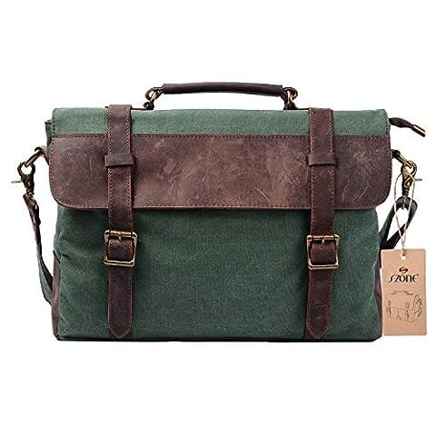 S-ZONE Mens Vintage Canvas Leather Messenger Traveling Briefcase Shoulder Laptop Bag Handbag (Coral Green)