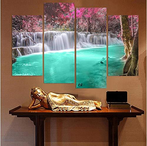 DLRBLHZ Erntedankfest Dekoration Wohnzimmer Modulare Bilder 4 Panel Wasserfälle Pool View Framework Wandkunst Malerei HD Gedruckt Leinwand Poster