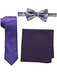 Nick Graham Men's Plaid Neck Tie with Solid Bow Tie and Pocket Square