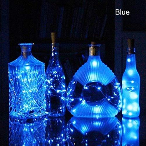 Daxoon Luces para Botella de Vino con Corcho, 10 Luces LED de Alambre de Cobre Plateado para Bricolaje, Fiesta, decoración, Boda Azul Azul Talla única