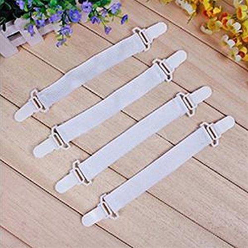 QLING 4 Stück Bettlakenverschlüsse verstellbar elastisch weiß Bettlakenverschlüsse Hosenträger Clips, weiß, Free Size