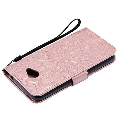 Custodia LG K5 ISAKEN Cover LG K5 con Strap, Elegante borsa Dente di leone Design in Pelle Sintetica Ecopelle PU Case Cover Protettiva Flip Portafoglio Case Cover Protezione Caso con Supporto di Stand girasole: rose gold