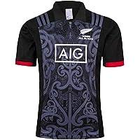 Aitry Equipo de Nueva Zelanda Manga Corta, Copa del Mundo Camisa Deportiva, Camisas para Hombres Maori All Blacks, Camiseta de Entrenamiento de Rugby
