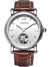 SKONE Classic Automatic Mechanical Mens Watch with Simple Scale Genuine Leather Strap 30m Waterproof (Coffee)