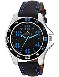 SWISSTONE FTREK064-BLU Black Leather Strap Analog Wrist Watch For Men/Boys