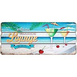 Cartel de madera, placa de pared, puerta, de decoración, cartel MDF de vacaciones, decorativo, 34x 15cm, madera, Lounge, 34cm x 15cm x 1cm