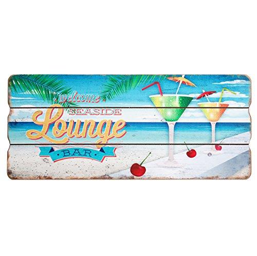 Welcome Seaside Lounge Holzschild Sommer Strand Party Deko Bild Schild MDF 34x15 cm