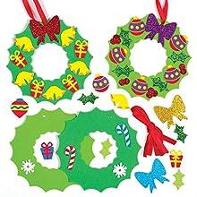 Baker Ross Kits de décorations couronnes de Noël à Assortir (Paquet de 8) - Loisirs créatifs festifs pour Enfants