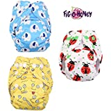 Fig-O-Honey Reusable New Born Baby Cloth Diapers   Multi-Color Baby Fabric Nappy With Free Absorbent Inserts   Washable And Elastic Printed Modern Cloth Nappies With Insert Liners   ( Elephant, Ladybug & Emoji Print Combo )