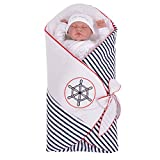Sevira Kids Baby Boys' Sleeping Bag White Navy 0-12 Months, 90 x 70 cm