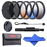 Beschoi 67 mm Kit de Objectif Filtre Gradué 3 Pièces : Gradué Orange / Bleu / Gris + kit de filtres : CPL ND4 ND8 + Lens Cap avec Laisse de Bouchon + Stylo + Chiffon de Nettoyage + Sac de Filtre