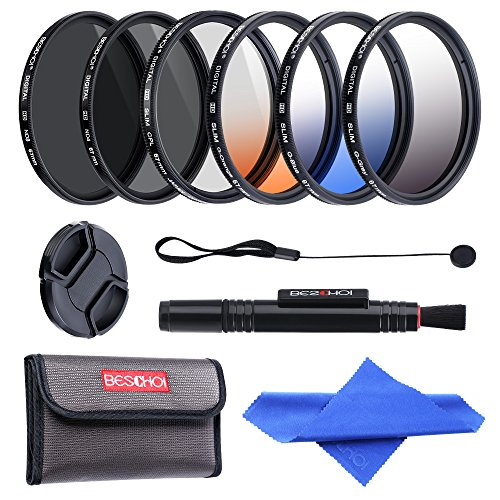 Beschoi 67mm Filter CPL + ND4 + ND8 + Verlaufsfilter Grau + Orange + Blau mit Filtertasche Reinigungsset für Canon Nikon Olympus DSLR Kamera