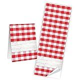 10 Stück beschreibbare Aufkleber Etiketten 5 x 14,8 cm rot weiß kariert Banderolen zum Papiertüten Geschenktüten zukleben Verpackung Produkte Geschenkaufkleber Namensschilder selbstklebend