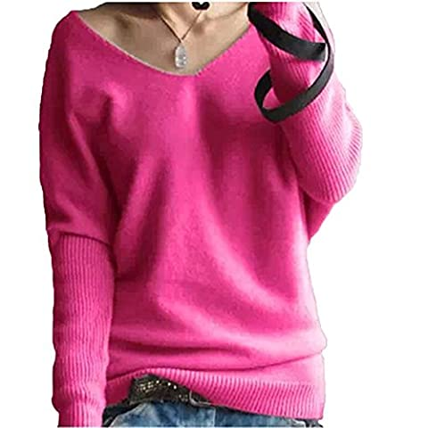 LongMing Women's Cashmere Jumper Sexy Loose Batwing Sleeve Big V-neck Pullover Sweater (UK 14-16, Rose Red)