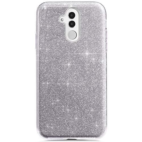 Felfy Glitter Carcasa Compatible con Huawei Mate 20 Lite Funda Brillante Brillo Purpurina Plata Lentejuelas Cover Transparente Silicona TPU y Glitter Bling rígido PC Ultra Fina Protectora Hard Case