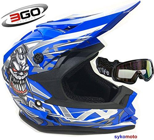 3GO X10-K KINDER SCHÄDEL ENTWURF MOTOCROSS QUAD ATV ENDURO OFF ROAD MOTORRADHELME BLAU UND SCHLÜSSELN (M (49 - 50 - Helm Kinder Blau Atv