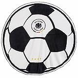 DFB Badelaken im Fussball Design (Rund, Ø 150 cm) Deutschland Badetuch Schwarz Weiss Outdoor Strand Decke Strandlaken zur Fußball WM 2018 in Russland