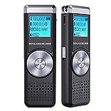Registratore Vocale Digitale, TENSAFEE 8GB HD Audio Portatile Registratore Voice Recorder Registratore Dittafono Registratore di Suoni con MP3 Ricaricabile Registratore per Lezioni Universitarie