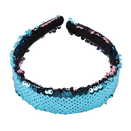 Kingus Magic Reversible Pailletten gepolsterte Stirnband Glitter Sparkly Fashion New Style Stirnband Headwear für Teens Girls Frauen, blau - Reversible Stirnband