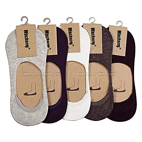 Wocharm Men's Cotton Rich InvIsible Loafer Boat Trainer No Show Casual Socks Non Slip SoleHugger Active Low Cut Shoe Liner Socks 10 Pairs (Mixed Color)