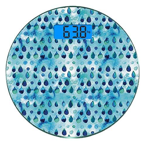 Digitale Präzisionswaage für das Körpergewicht Runde Marine und Knickente Ultra dünne ausgeglichenes Glas-Badezimmerwaage-genaue Gewichts-Maße,Abstraktes blaues Aquarell lässt Aquarell-Kunst-Regen-Tea -