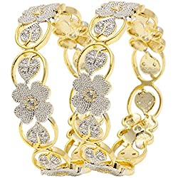 Jewels Galaxy Floral Design White American Diamond Bangle Set For Women And Girls (2.8)