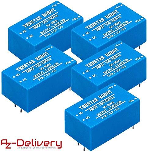 AZDelivery ⭐⭐⭐⭐⭐ 5 x 220V zu 3,3V Mini-Netzteil für Arduino und Raspberry Pi