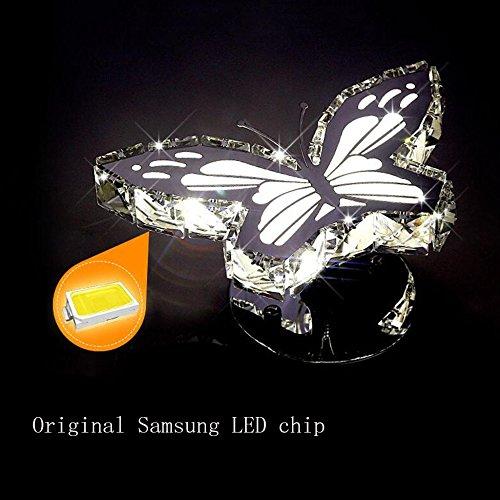 DUAN Schmetterlings-Kristall-Edelstahl-LED-Wand-Lampen-Kreative Persönlichkeits-Einfaches Fisch-Fan-ovales Nachttisch-Gang-Licht,Butterfly-WhiteLight (Fisch Butterfly)