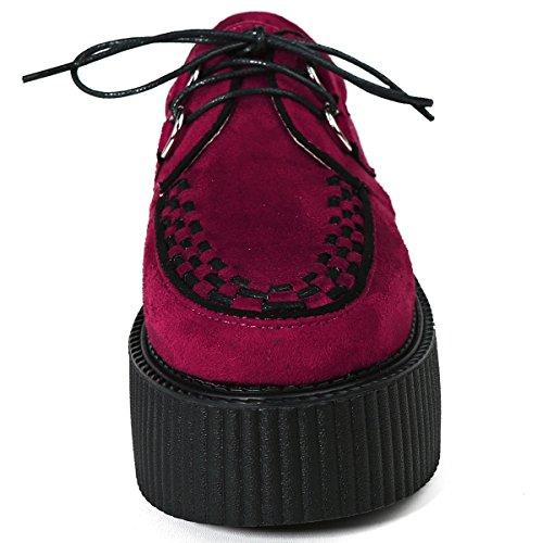 RoseG Femmes Cuir Lacets Plateaforme Gothique Punk Creeper Chaussures Oxfords Rouge