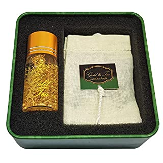 Gyokuro ASAHI, 2 Tea Bags 100% Cotton with 2.5 g Each Approximately and a Glass Bottle with 50mg of 24k Gold Flakes and 10ml of Water. Perfect Gift for a Special Moment. Gold & Tea.