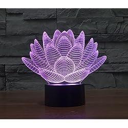 7Color LED 3d ilusión BULBING luz nocturna USB Interruptor táctil lámpara de mesa