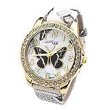 JSDDE Elegant Retro Femme Montre Quartz Analogique Faux Cristal Strass Cadran Dore de Papillon Bracelet Cuir PU Blanc