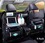 Organizer per sedile posteriore per auto, custodia per sedile posteriore in pelle PU, protezione per seggiolino auto, tablet per bottiglie da viaggio, giocattoli, ecc. (Nero)