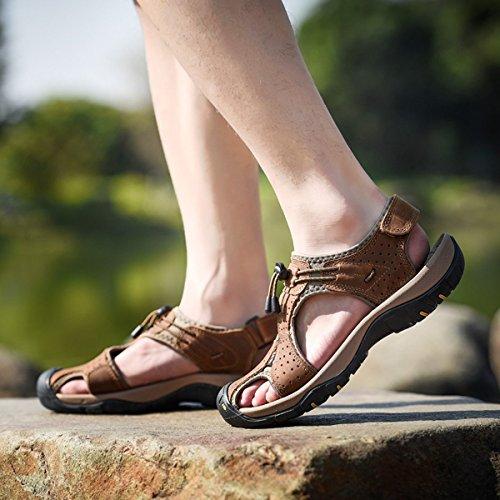 Sommer Neue Outdoor Herren Strand Schuhe Leder Casual Schuhe Korean Breathable Wxposed Toe Leder Sandalen Baotou Anti-Rutsch Schwarz