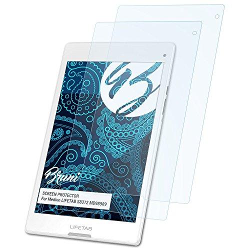 Bruni Schutzfolie für Medion LIFETAB S8312 MD98989 Folie, glasklare Displayschutzfolie (2X)